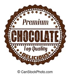 Chocolate stamp - Chocolate grunge rubber stamp on white,...