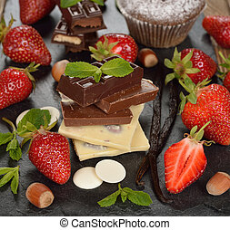 Chocolate, strawberries and mint