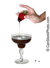Chocolate Strawberry - Woman's hand dipping strawberry in ...