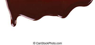 Chocolate streams isolated on white background. Chocolate syrup, topping, dark chocolate.