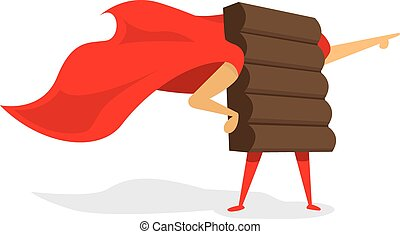 Chocolate super hero standing with cape