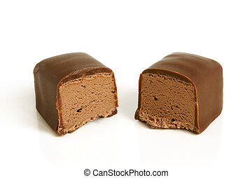 Chocolate sweet on a white background