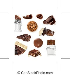 Chocolate. Sweet set, cookies, candy, bar, pieces. Vector icons [Converted]