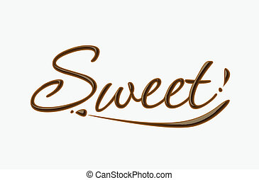 Chocolate sweet text made of chocolate vector design element.