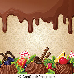 Chocolate sweets background - Sweets dessert background with...
