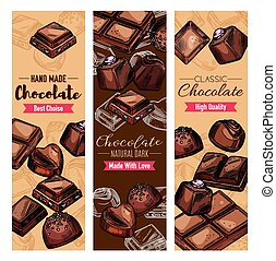 Chocolate sweets, black and milk choco candies - Chocolate...