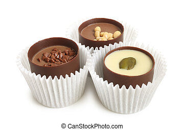Chocolate sweets on white background