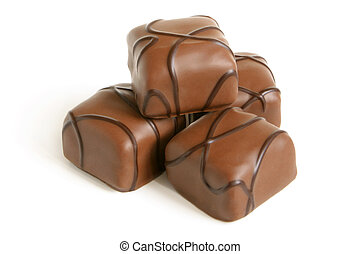 Chocolate sweets on a white background