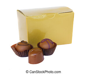 chocolate sweets with golden box