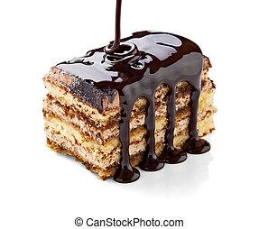 chocolate syrup and  cake sweet dessert food