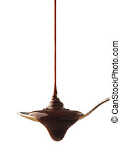 Chocolate syrup being poured onto a spoon