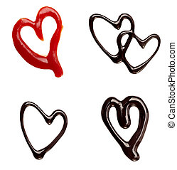 collection of chocolate syrup and ketchup heart shapes on white background. each one is shot separately