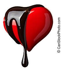 chocolate syrup leaking heart shape love - close up ...