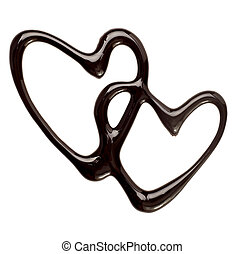 close up chocolate syrup heart shape on white background