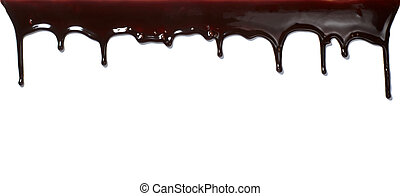 chocolate syrup leaking liquid sweet food - close up...