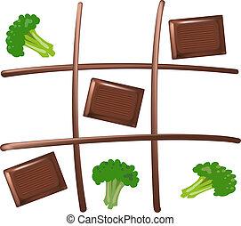 chocolate, tac, tic, dedo del pie