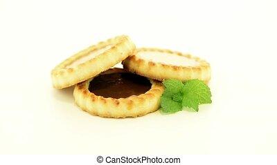 Chocolate tart cookies - Delicious chocolate tart on white...