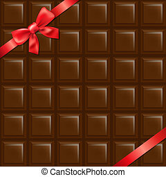 Chocolate Texture With Red Bow