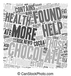 Chocolate The Newest Health Food text background wordcloud concept