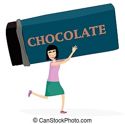 Chocolate thief - A woman runs off with a huge choclate bar.