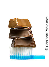 Chocolate toothbrush - Blue toothbrush with 3 pieces of...
