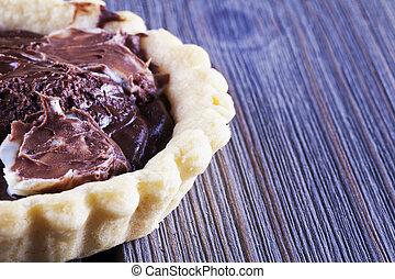 chocolate torta, felett, asztal
