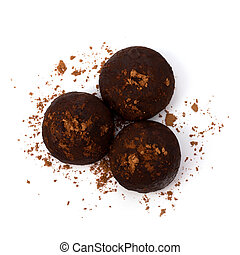 Chocolate truffle candy - Chocolate truffle candy isolated...