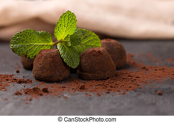 chocolate truffle - delicious truffle chocolate with mint...