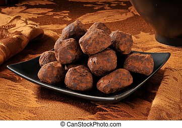 Chocolate truffles - A plate of chocolate truffles