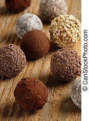 Chocolate truffles - An assortment of chocolate truffles on ...
