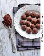chocolate truffles close-up shot