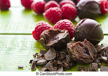 Chocolate truffles - Gourmet raspberry truffles hand made by...