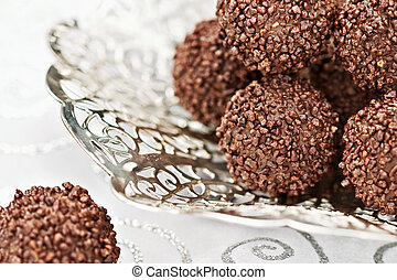 Chocolate Truffles - Macro of a high key image of an antique...