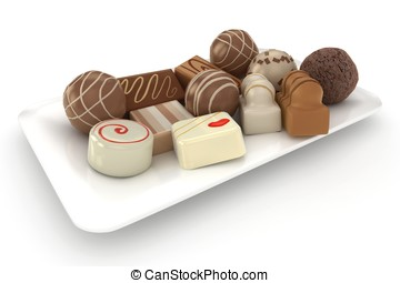 Chocolate truffles on a plate isolated over a white...