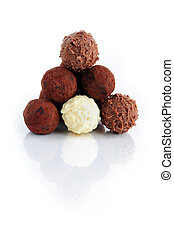 Chocolate truffles - Pyramid of assorted chocolate truffles...