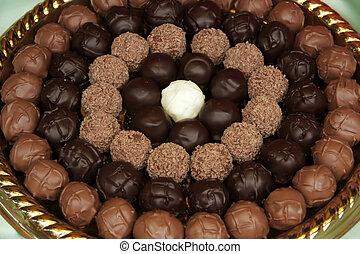 Chocolate truffles - Fancy chocolate truffle balls arranged...