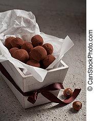 chocolate truffles - truffles of slightly bitter chocolate ...