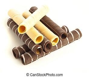 chocolate, tubos
