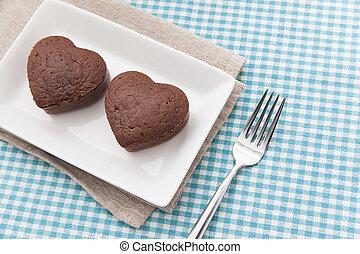 Chocolate Valentine Cake on blue cloth (heart shape)