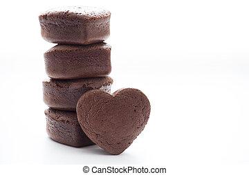 Chocolate Valentine Cake on white background (heart shape)
