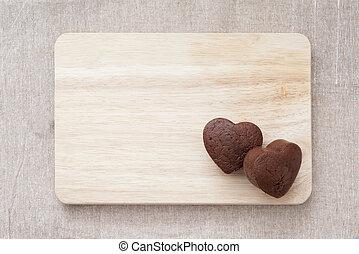 chocolate, valentine, pastel, en, tabla de madera, (heart, shape)