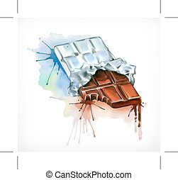 Chocolate vector illustration, watercolor painting, isolated on a white background