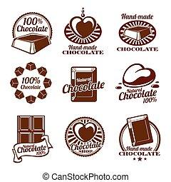 Chocolate vector logos, emblems and badges