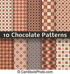Chocolate vector seamless patterns (tiling). - 10 Chocolate...