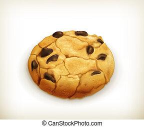 chocolate, vetorial, biscoito, ícone