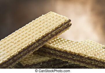 chocolate wafer in different position on the table