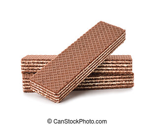 chocolate wafers isolated on white background