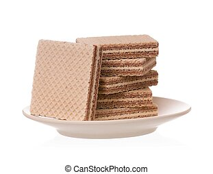 Chocolate wafers on a saucer isolated on a white background ...