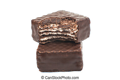chocolate wafers on a white background