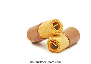 Chocolate wafers on white background
